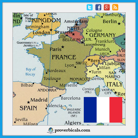 French flag with political map