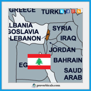 Lebanon map with Lebanese flag