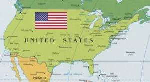 USA Map with American Flag