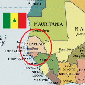 Map of Senegal with Senegalese flag