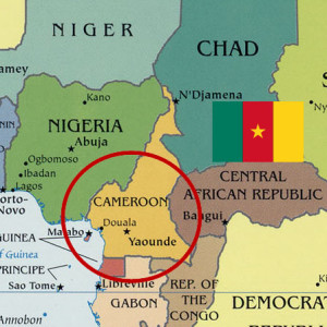 Map of Cameroon with Cameroonian flag
