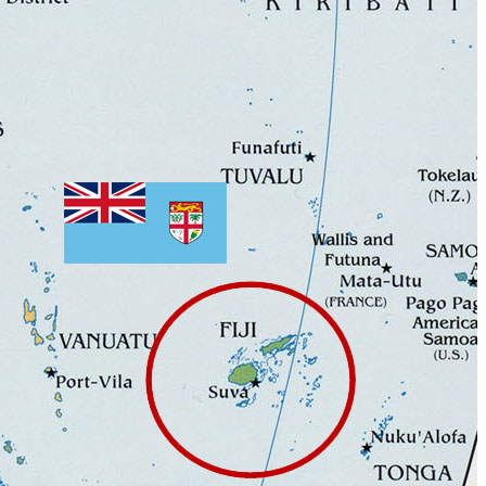 Map of Fiji with Fijian Flag