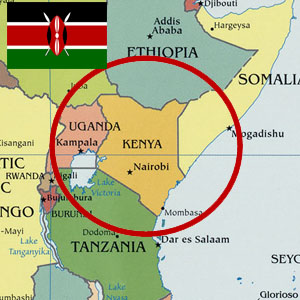 Map of Kenya with Kenyan flag