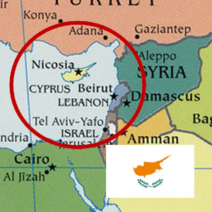Map of Cyprus with the flag