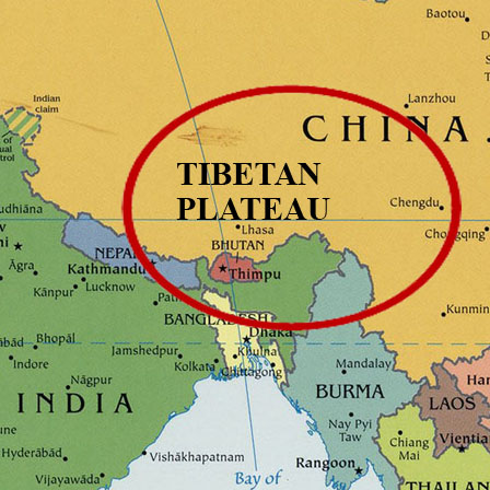 Map of the Tibetan Plateau