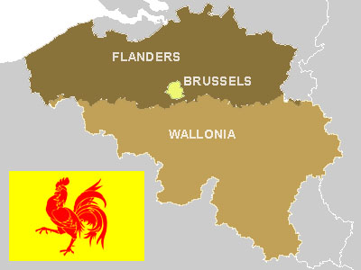 Map of Wallonia with Walloon flag