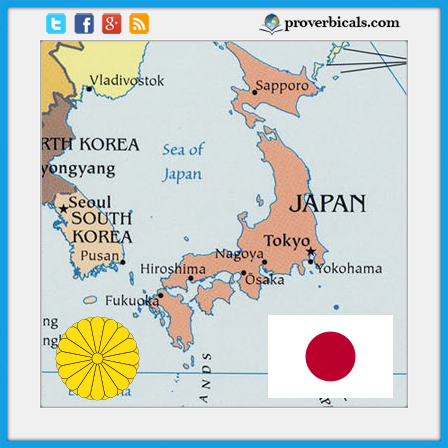 Japan map with Japanese flag
