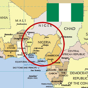 Political map of Nigeria with Nigerian flag