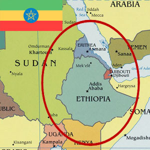 Map of Ethiopia with Ethiopian flag