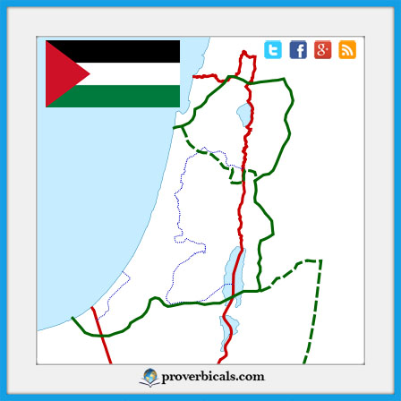 Palestinian map with flag