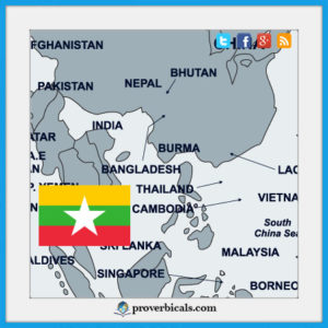 Burma Political map with Burmese flag